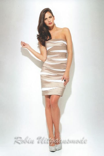 Elegant short dresses in the sand-ivory striped skirt | modelnr c-u1-38