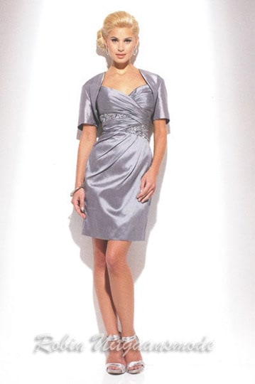 Elegant silver-grey evening dresses with draped bodice a straight bolero jacket | modelnr c-u1-42