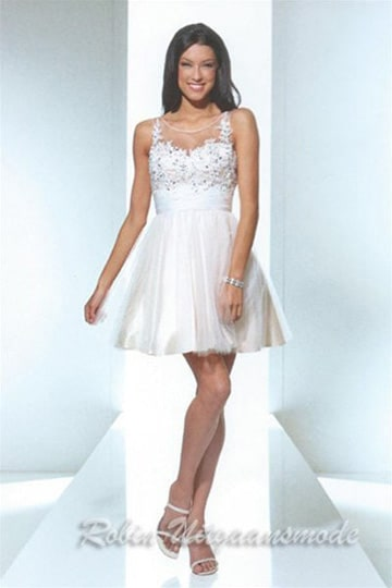 White cocktail dress with short tulle skirt and beaded heart-shaped bodice | modelnr c-u1-64