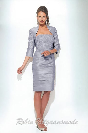 Mother of the bride dresses with bolero jacket in gray blue, old pink, gold and silver. | modelnr c-u1-67