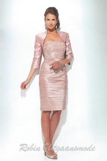 Strapless short dresses with bolero jacket in old pink, gold and silver gray blue | modelnr c-u1-67