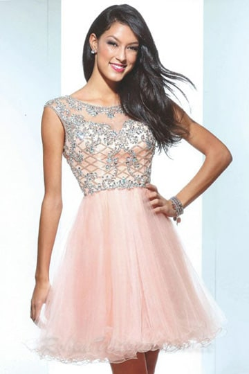 Pink glamour cocktail dress with a silver embroidered lace bodice | modelnr c-u1-70