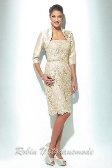 Embroidered short evening dresses with a 1/2 long sleeves bolero jacket | modelnr c-u1-75