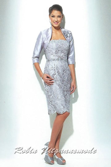 Embroidered short evening dresses with a 1/2 long sleeves bolero jacket up to size 50 | modelnr c-u1-75