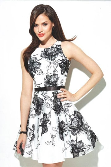 High neck cocktail dress with beautiful floral pattern in black on white. | modelnr c-u1-77