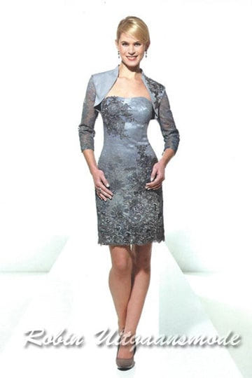 Short floral broidered lace dresses with bolero jacket for the mother of the bride | modelnr c-u1-79
