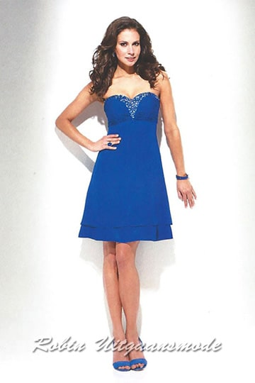 Blue strapless cocktail dress with glitter on the top. | modelnr c-u1-86