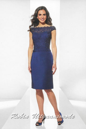 Short evening dress with lace off shoulder bodice in dark blue | modelnr c-u1-98