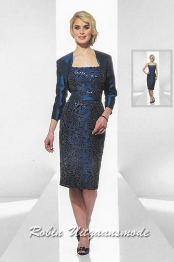 Stylish short evening dress with bolero jacket and long sleeves in the dark blue. | modelnr c-u1-99