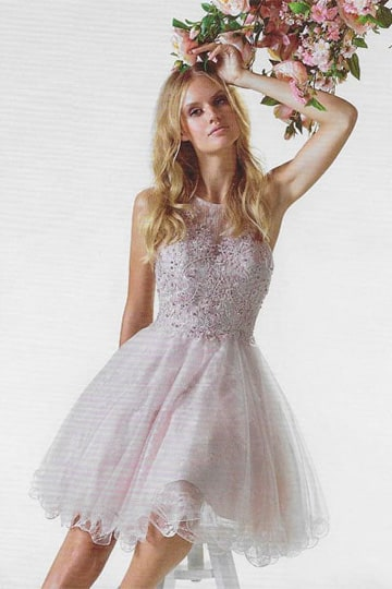 Playful petticoat dress with lace, a high neckline and decorative beaded with sequins on the bodice | modelnr c-ul1-27