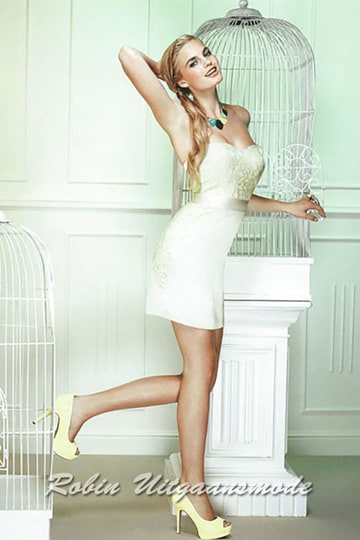 Short straight dress with lace applications and a heart shape strapless bodice | modelnr c-ul6-6