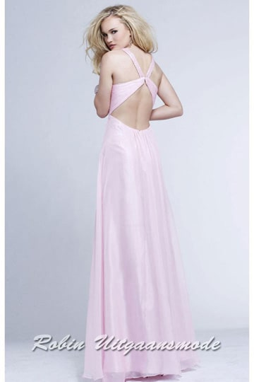 Light pink prom dress with glittery bodice, straight shoulder straps, a semi-open back and supple skirt | modelnr g-2-112