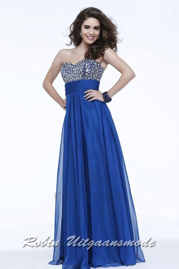 Shimmering strapless blue prom dress features a sequin beaded bodice and a draped waist | modelnr g-2-121
