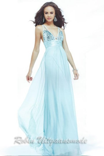 Sexy V-neck prom dress with a beaded buster, draped waistband and a transparent overlay long skirt | modelnr g-2-133