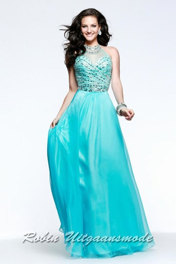 Stylish prom dress with illusion high-neck, fully beaded sweetheart bodice | modelnr g-2-145