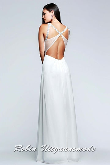 The low back with elegant straps and transparent bands of the ivory white dress  | modelnr g-2-146