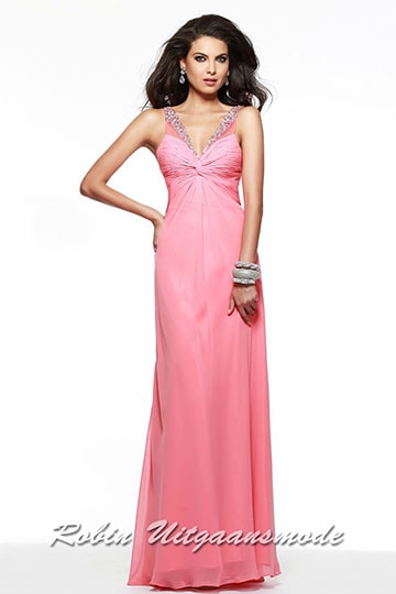 Elegant pink dress shirred bust and beaded straps over the open back, made of supple chiffon | modelnr g-2-146