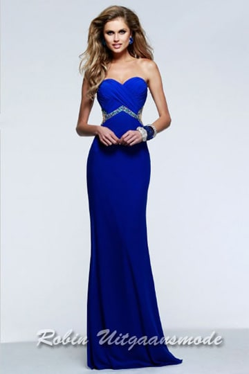 Blue sweetheart prom dress with elegant beaded waistline and transparent back | modelnr g-2-152
