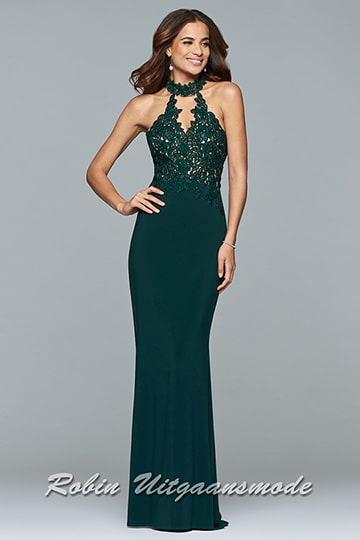 Prom dress in green with an illusion lace halter neckline and applique detailing on the bodice | modelnr g-2-163