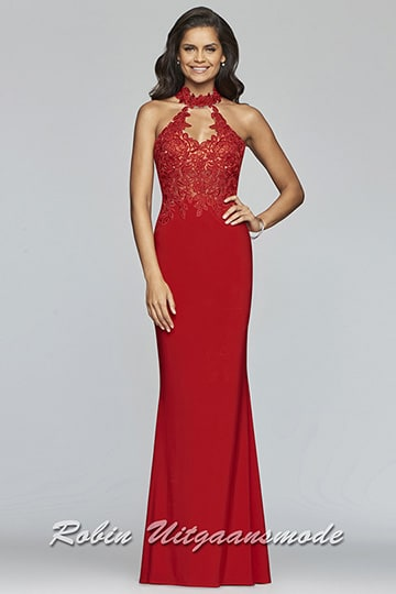 Red prom dress with an illusion lace halter neckline and applique detailing on the bodice | modelnr g-2-163