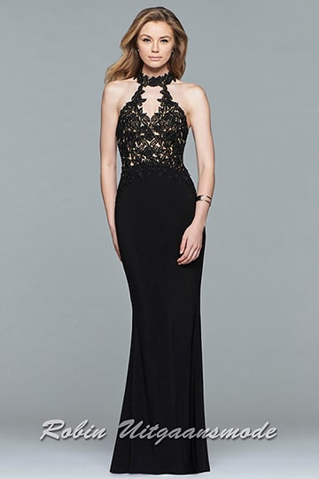 Black prom dress with an illusion halter neckline and applique detailing on the bodice | modelnr g-2-163