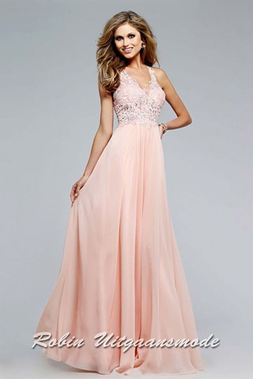 Romantic soft peach dress accented by a V-neck lace bodice and sheer back detail | modelnr g-2-165