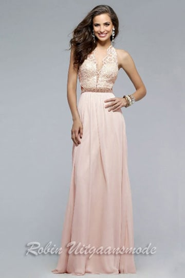 Long prom dress in peach with a strapped V-neck lace bodice, elegant embroidered crisscross open back | modelnr g-2-166