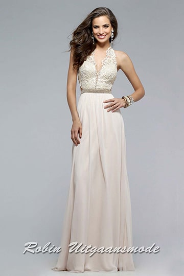 Long prom dress in light gold with a strapped V-neck lace bodice, elegant embroidered crisscross open back | modelnr g-2-166