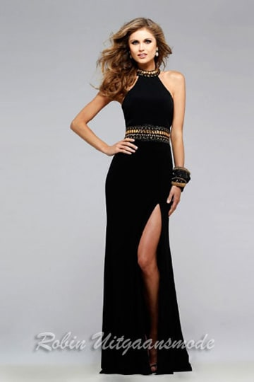 Black long dress with bronze cat eye beading around the waist and high halter neckline | modelnr g-2-169