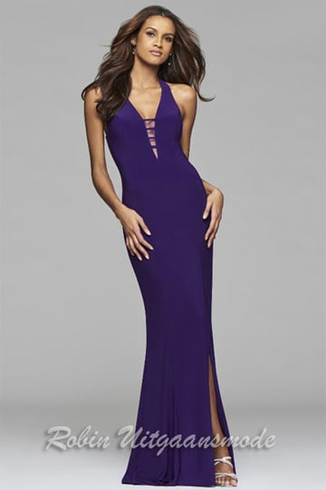 Tight fitted purple prom dresses with low back, V-neck neckline and high slit | modelnr g-2-171
