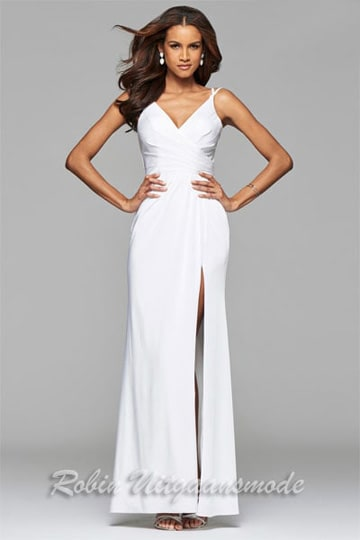 Long prom dress with draped front, V-neck and skirt with high slit | modelnr g-2-173
