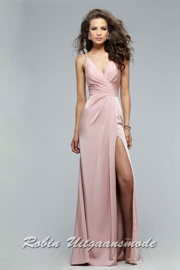 Pink prom dress with draped front, V-neck and skirt with high slit | modelnr g-2-173