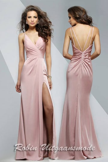 Long dress with draped front, V-neck and skirt with high slit, in different colors | modelnr g-2-173
