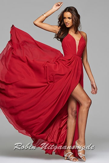 Ruby prom dress features an illusion V-neck, lace-up back and a high slit in the full skirt | modelnr g-2-174