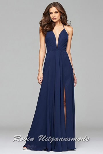 Navy blue lace-up back evening dress with V-neck, spaghetti straps and slit. | modelnr g-2-174