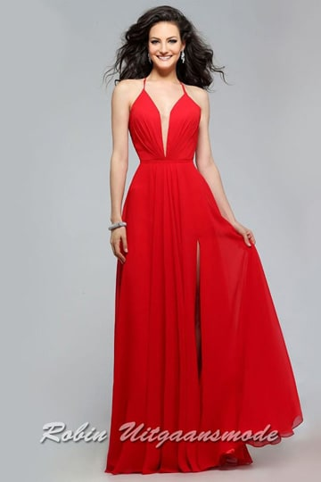 Charming red v-neck dress with full skirt and lace-up back | modelnr g-2-174