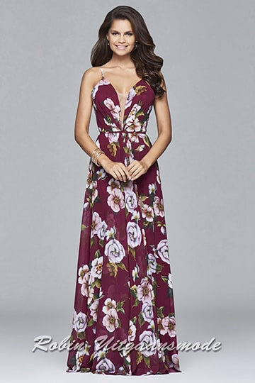 Red floral print prom dress with full skirt and a plunging v-neck | modelnr g-2-177