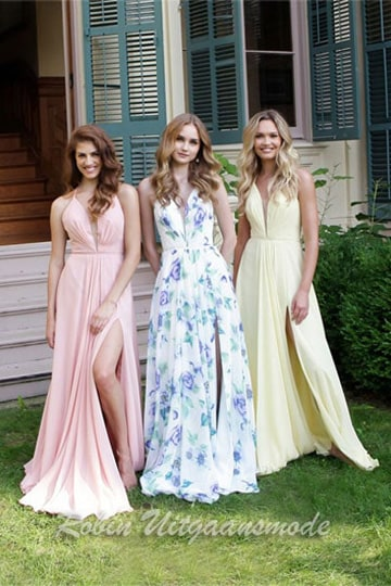 Summery long prom dress with full skirt and slit, in light colours or floral print | modelnr g-2-177