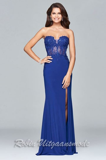 Lace style strapless prom dress with low back and high slit | modelnr g-2-181