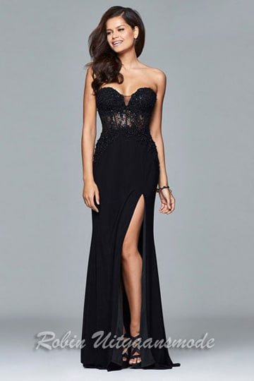 Black strapless prom dress with low back and high slit | modelnr g-2-181