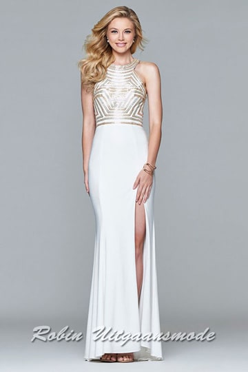 Gold-white evening dress with beaded bodice, the modern halter neckline leads into a flowing skirt | modelnr g-2-185