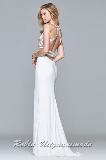 The low back with shoulder straps of the Gold-white dress with beaded bodice | modelnr g-2-185