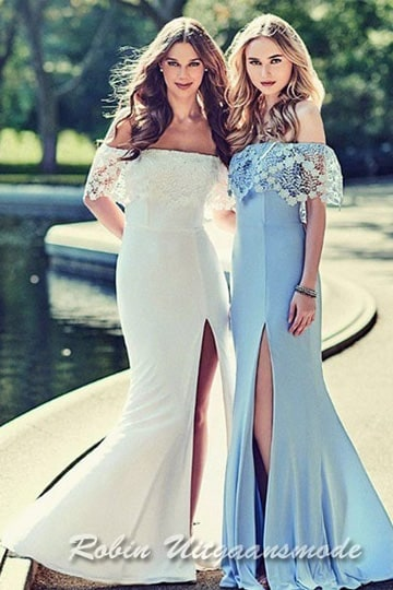 Strapless off-shoulder prom dresses with lace trim on top, a long skirt with a high slit | modelnr g-2-186