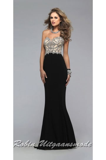 Affordable strapless long gown with a black skirt and nicely embroidered bodice | modelnr g-2-188