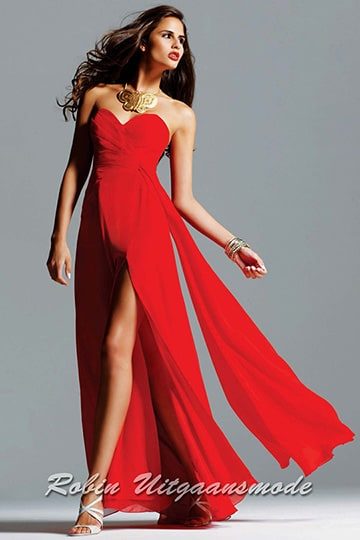 Sweetheart strapless dress with ruched patterned bodice and a straight-cut back | modelnr g-2-19
