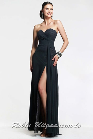 Sexy strapless dress with ruched patterned bodice and a straight-cut back in black | modelnr g-2-19