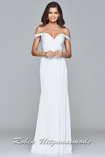 Off-shoulder white prom dress features a draped V-neck bodice and small arm sleeves | modelnr g-2-191
