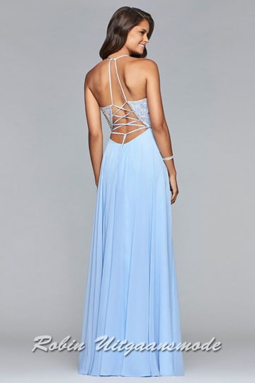 Light blue prom dress with richly beaded bodice, a supple chiffon skirt with a split and a low back with criss-cross lacing | modelnr g-2-197