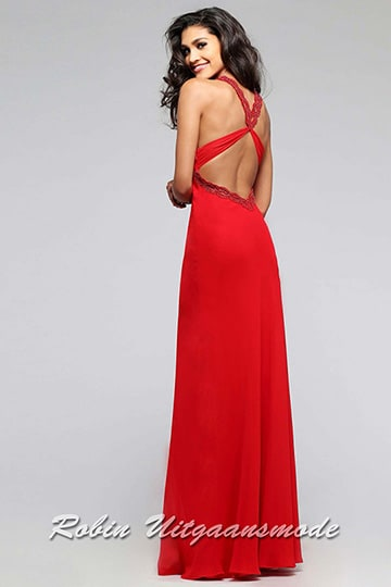 The low back with cross halter straps on the prom dress with beaded waistline | modelnr g-2-2