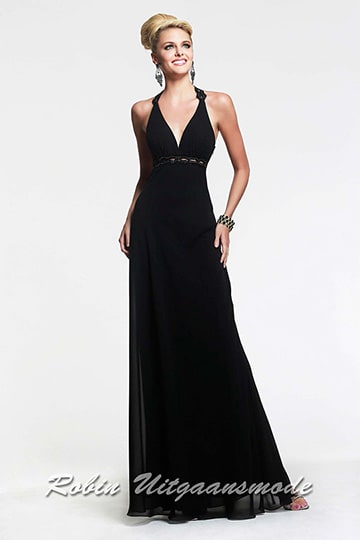 Black cross low back halter prom dress with beaded waistline | modelnr g-2-2